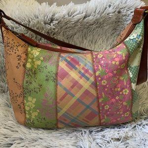Fossil leather floral patchwork shoulder purse